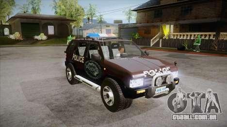 Nissan Terrano RB26DETT Police para GTA San Andreas vista traseira