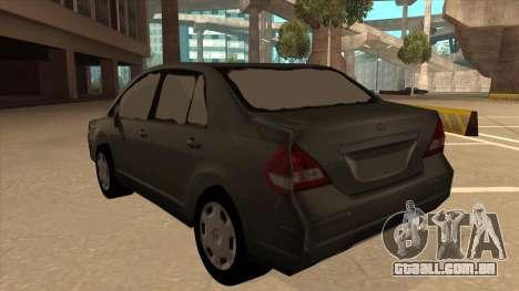 Nissan Tiida sedan para GTA San Andreas vista traseira