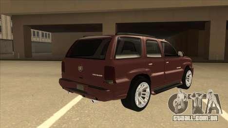 Cadillac Escalade 2002 para GTA San Andreas vista direita