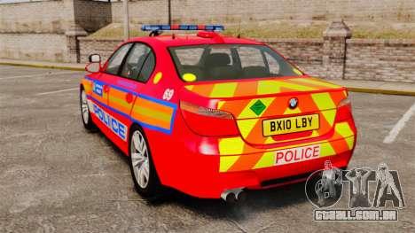 BMW M5 E60 Metropolitan Police 2010 ARV [ELS] para GTA 4 traseira esquerda vista