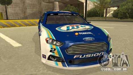 Ford Fusion NASCAR No. 2 Miller Lite para GTA San Andreas esquerda vista