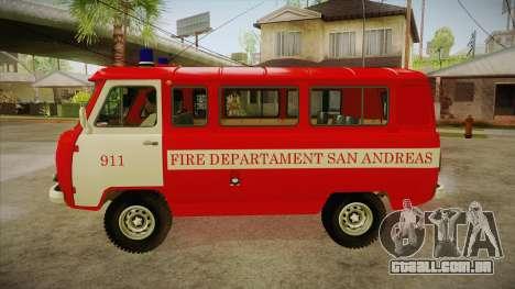 Sede UAZ 452 bombeiro SA para GTA San Andreas esquerda vista