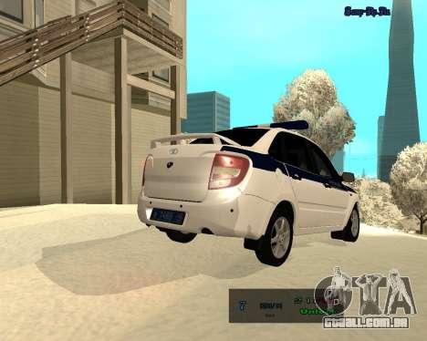Lada Granta 2190 polícia v 2.0 para GTA San Andreas vista traseira