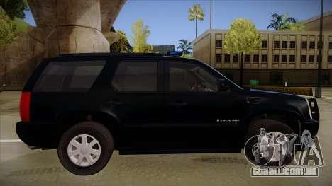 Cadillac Escalade 2011 FBI para GTA San Andreas traseira esquerda vista