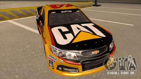 Chevrolet SS NASCAR No. 31 Caterpillar para GTA San Andreas esquerda vista