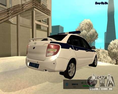 Lada Granta 2190 polícia v 2.0 para GTA San Andreas vista direita