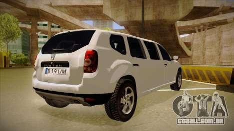 Dacia Duster Limuzina para GTA San Andreas vista direita