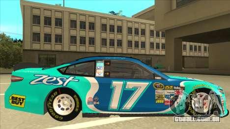 Ford Fusion NASCAR No. 17 Zest Nationwide para GTA San Andreas traseira esquerda vista