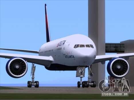 Boeing 777-200ER Delta Air Lines para GTA San Andreas traseira esquerda vista