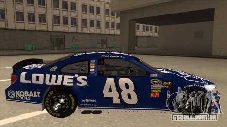 Chevrolet SS NASCAR No. 48 Lowes blue para GTA San Andreas traseira esquerda vista