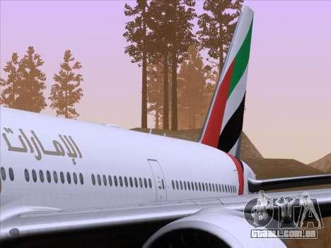 Boeing 777-21HLR Emirates para GTA San Andreas interior