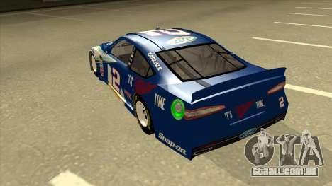 Ford Fusion NASCAR No. 2 Miller Lite para GTA San Andreas vista traseira