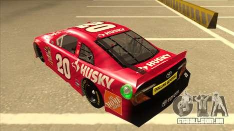 Toyota Camry NASCAR No. 20 Husky para GTA San Andreas vista traseira