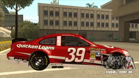 Chevrolet SS NASCAR No. 39 Quicken Loans para GTA San Andreas traseira esquerda vista