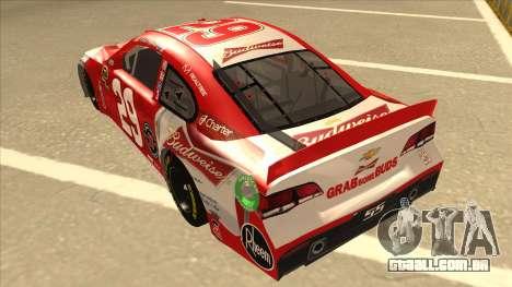 Chevrolet SS NASCAR No. 29 Budweiser para GTA San Andreas vista traseira