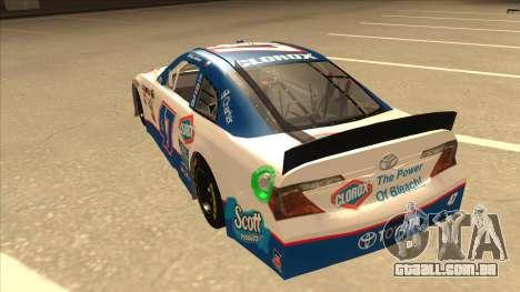Toyota Camry NASCAR No. 47 Clorox para GTA San Andreas vista traseira