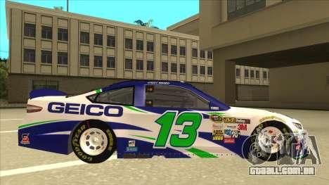 Ford Fusion NASCAR No. 13 GEICO para GTA San Andreas traseira esquerda vista