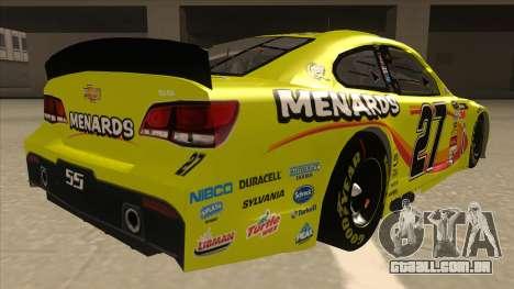 Chevrolet SS NASCAR No. 27 Menards para GTA San Andreas vista direita