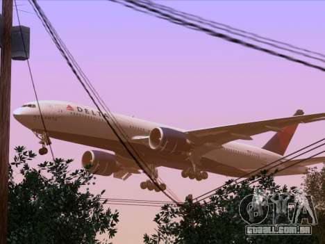 Boeing 777-200ER Delta Air Lines para GTA San Andreas vista inferior