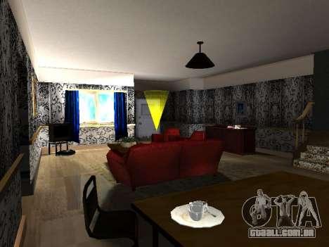 Novo edifício de 2 andares interior CJ para GTA San Andreas por diante tela