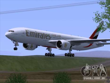 Boeing 777-21HLR Emirates para GTA San Andreas vista direita
