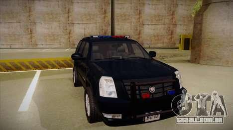 Cadillac Escalade 2011 FBI para GTA San Andreas esquerda vista
