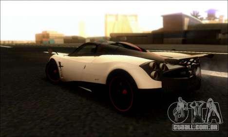 Pagani Huayra Cinque para GTA San Andreas traseira esquerda vista
