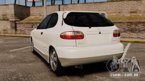 Daewoo Lanos GTI 1999 Concept para GTA 4 traseira esquerda vista