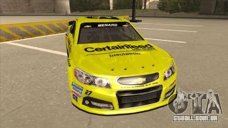 Chevrolet SS NASCAR No. 27 Menards para GTA San Andreas esquerda vista