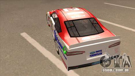 Ford Fusion NASCAR No. 21 Motorcraft Quick Lane para GTA San Andreas vista traseira
