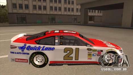 Ford Fusion NASCAR No. 21 Motorcraft Quick Lane para GTA San Andreas traseira esquerda vista