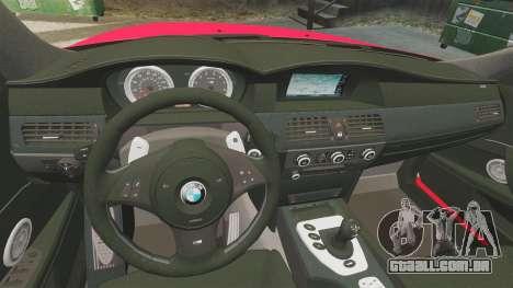 BMW M5 E60 Metropolitan Police 2010 ARV [ELS] para GTA 4 vista lateral