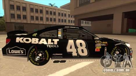 Chevrolet SS NASCAR No. 48 Kobalt Tools para GTA San Andreas traseira esquerda vista