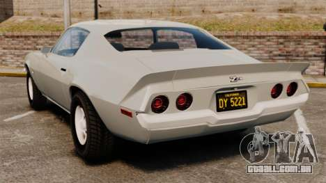 Chevrolet Camaro Z28 1970 para GTA 4 traseira esquerda vista