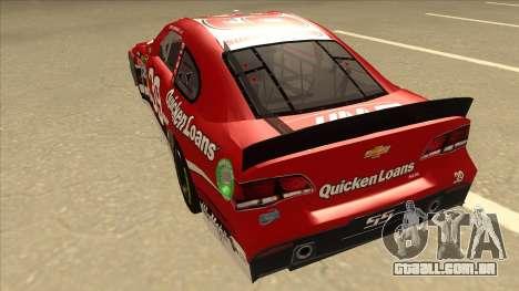 Chevrolet SS NASCAR No. 39 Quicken Loans para GTA San Andreas vista traseira