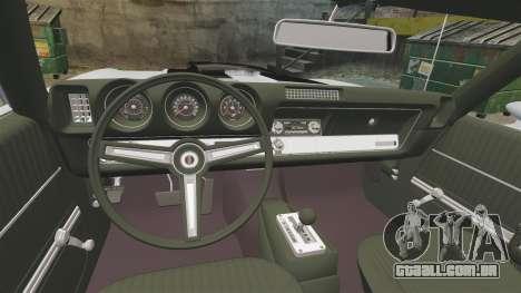 Oldsmobile Cutlass Hurst 442 1969 v2 para GTA 4 vista interior