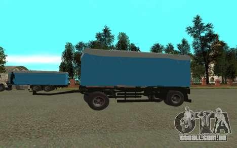 Trailer de KamAZa 5320 para GTA San Andreas traseira esquerda vista