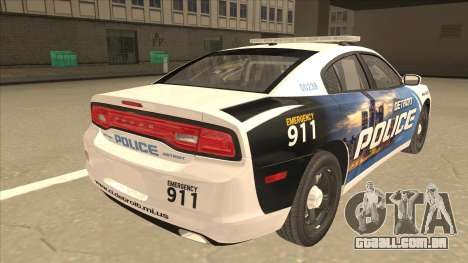 Dodge Charger Detroit Police 2013 para GTA San Andreas vista direita