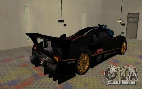 Pagani Zonda R SPS para GTA San Andreas traseira esquerda vista