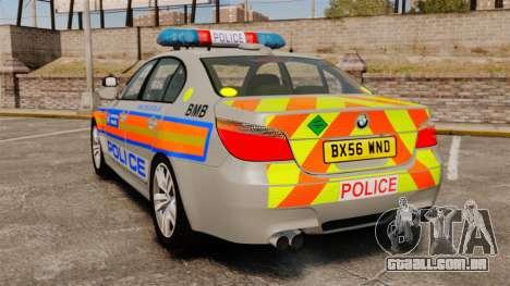 BMW M5 E60 Metropolitan Police 2006 ARV [ELS] para GTA 4 traseira esquerda vista