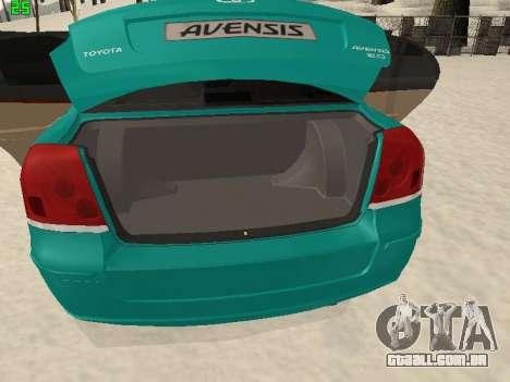 Toyota Avensis 2.0 16v VVT-i D4 Executive para GTA San Andreas vista interior
