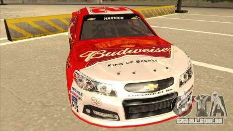 Chevrolet SS NASCAR No. 29 Budweiser para GTA San Andreas esquerda vista