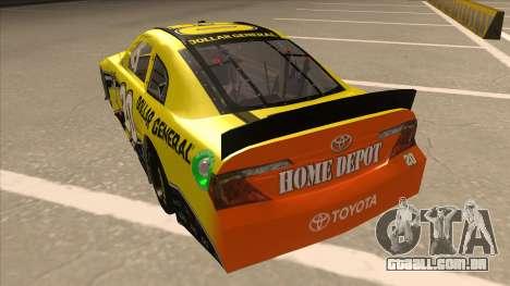 Toyota Camry NASCAR No. 20 Dollar General para GTA San Andreas vista traseira