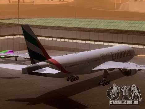 Boeing 777-21HLR Emirates para GTA San Andreas vista traseira