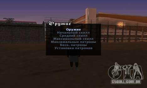 Enganar a versão inglesa do Menu para GTA San Andreas segunda tela