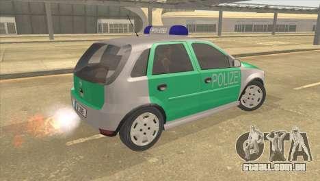Opel Corsa 1.2 200516V Polizei para GTA San Andreas esquerda vista