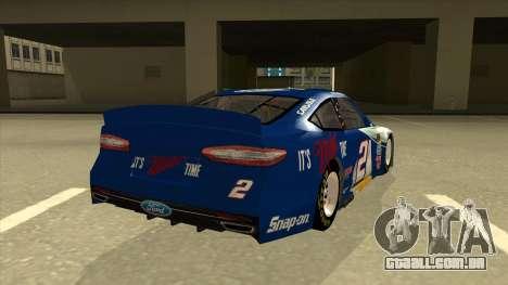 Ford Fusion NASCAR No. 2 Miller Lite para GTA San Andreas vista direita