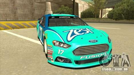 Ford Fusion NASCAR No. 17 Zest Nationwide para GTA San Andreas esquerda vista