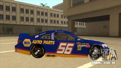 Toyota Camry NASCAR No. 56 NAPA para GTA San Andreas traseira esquerda vista