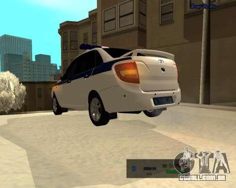 Lada Granta 2190 polícia v 2.0 para GTA San Andreas traseira esquerda vista